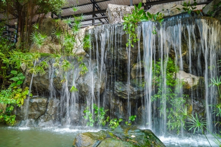 Decorative, landscaped waterfall in the home garden  photo