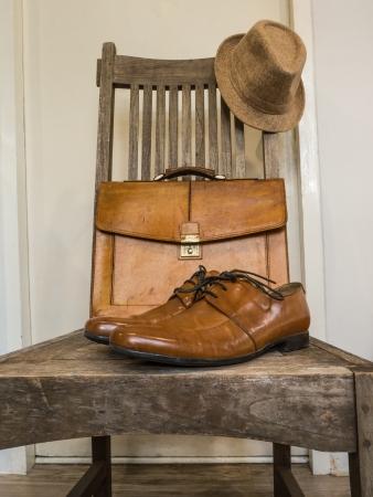 garb: Vintage fashion bag , shoes ,hat , accessories Stock Photo
