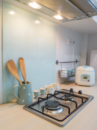 down lights: Kitchen , counter of stove cooking