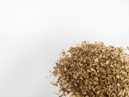 oregano whole on white blackground  Composition for text photo