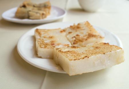 Cuit à la vapeur gâteau de navet, nourriture chinoise Banque d'images
