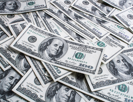 heap: Background with money american hundred dollars heap  Stock Photo