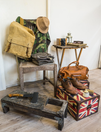 hatchet man: Vintage male clothing and accessories.  Stock Photo
