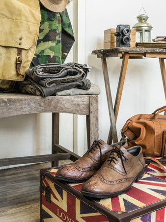duffle: Vintage male clothing and accessories.  Stock Photo