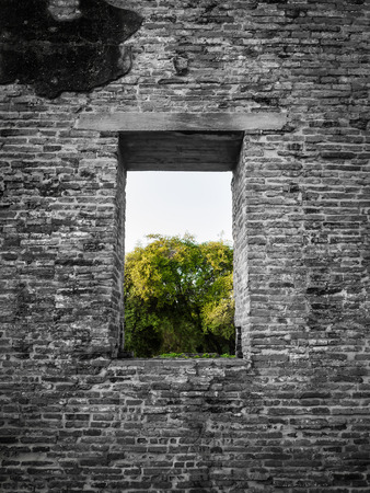 Black and white color of ancient  brick wall with a window view to the green trees of Ayutthaya province in Thailand. photo