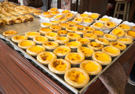portugese: homemade egg tart and Portugese custard tart at  Ampawa, Thailand