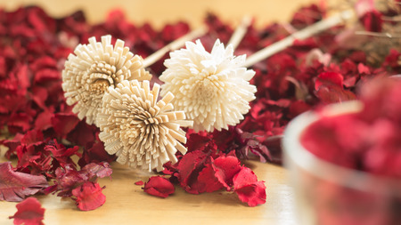 fiori secchi: Brown Dried flowers in the red leaf on a wooden plates background