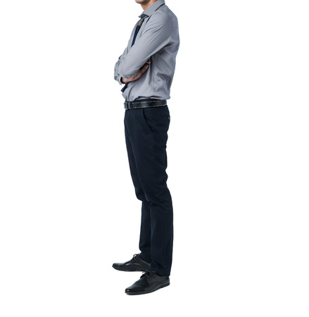business suit: Isolate Man in grey trendy suit standing alone in white background
