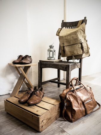 Vintage male accessories.Leather bags and leather shoes.( Vintage effect style picture) photo