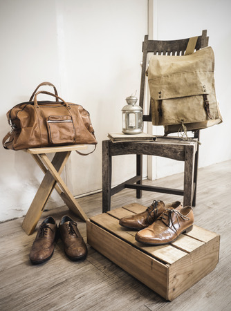 duffle: Vintage male accessories.Leather bags and leather shoes.( Vintage effect style picture)