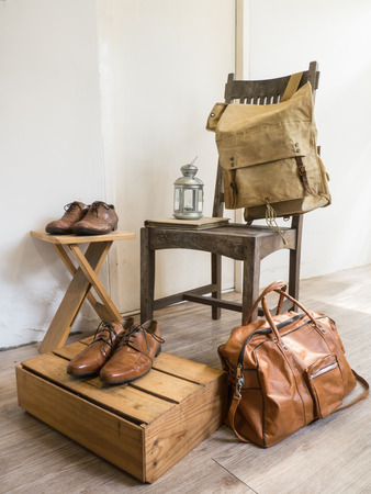 fashion bag: Vintage male accessories.Leather bags and leather shoes. Stock Photo