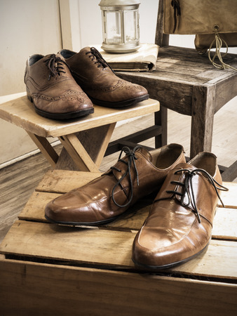 Vintage male accessories.Leather shoes.( Vintage effect style picture)