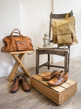 duffle: Vintage male accessories.Leather bags and leather shoes. Stock Photo