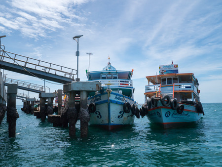 wean: KOH LAN, PATAYA, THAILAND- JUNE 20:Ferry boats at Ta wean port in Koh Lan Island.There are many ways to get to Koh Lan. The easiest way is by speed boat,The other way is the ferry,Koh Lan is a wonderful island and the most popular for tourists frequently