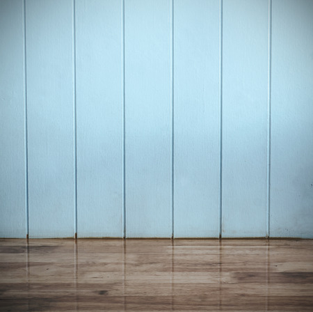 wall: Blue wood texture background and wooden floor (Vintage tone color)