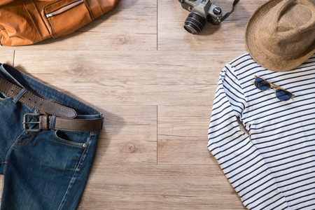 leather belt: Top view of Vintage clothing and accessories on the wooden background ( Composition and space for text )