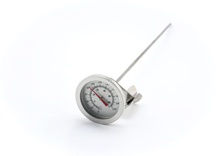 cooking implement: Isolated Stainless steel kitchen thermometer on white background