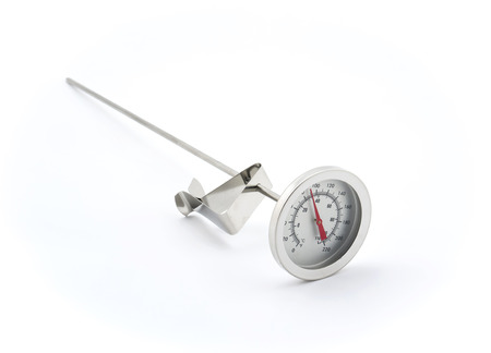 Isolated Stainless steel kitchen thermometer on white background
