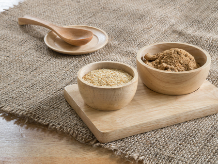 breackfast: Ingredient grain, wheat germ and  Brown sugar  in wooden bowl Stock Photo