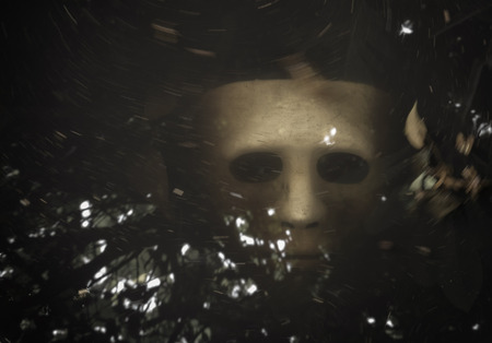 drown: White Scary Halloween mask drown in the water