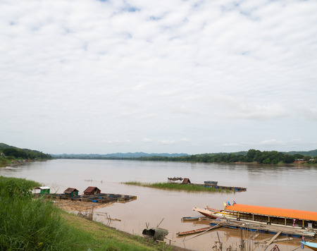 khong river: Landscape of  Mekong River, Shooting from Chiang Khan-Loei , Thailand The Mekong River is an important river between Thailand and Laos