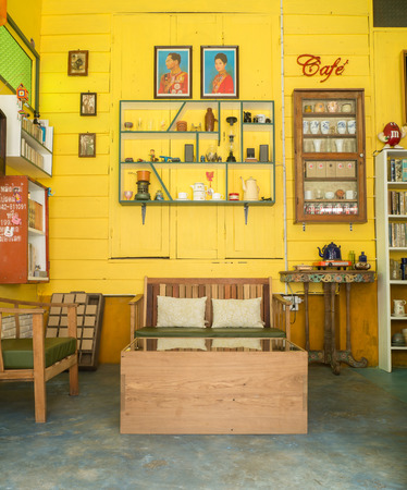 loei: CHIANG KHAN,LOEI,THAILANDOCTOBER13,2015:Vintage decoration of cafe at Chaing Khan.The town is quiet with simple life style of people. It is a very nice place for relaxation and let your mind fly with local life. Editorial