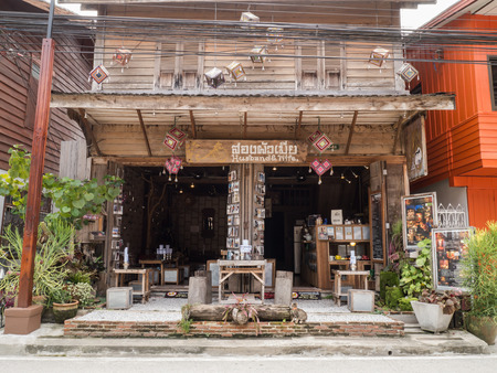 guesthouse: CHIANG KHAN,LOEI,THAILANDOCTOBER13,2015:Vintage retro wooden Guesthouse cafe at Chaing Khan.The town is quiet with simple life style of people. It is a very nice place for relaxation and let your mind fly with local life.