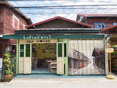CHIANG KHAN,LOEI,THAILANDOCTOBER13,2015:Vintage decoration of cafe at Chaing Khan.The town is quiet with simple life style of people. It is a very nice place for relaxation and let your mind fly with local life. Stock fotó - 55474391