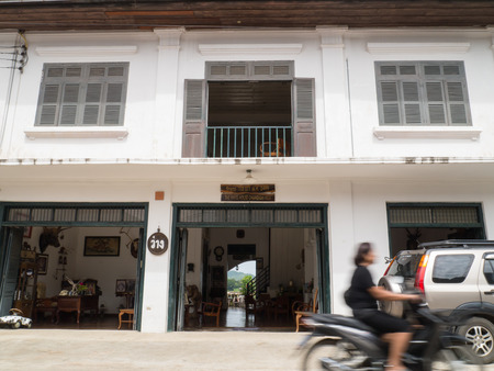 simple life: CHIANG KHAN,LOEI,THAILANDOCTOBER13,2015:Vintage retro wooden Guesthouse cafe at Chaing Khan.The town is quiet with simple life style of people. It is a very nice place for relaxation and let your mind fly with local life.