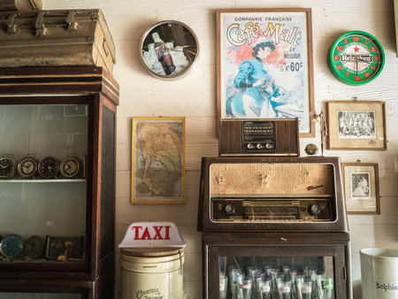 guesthouse: CHIANG KHAN,LOEI,THAILANDOCTOBER13,2015: Vintage decoration of Guesthouse at Chaing Khan.The town is quiet with simple life style of people. It is a very nice place for relaxation and let your mind fly with local life.