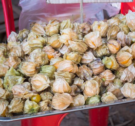 street shot: Fresh Cape gooseberry on a plate - Snap street shot