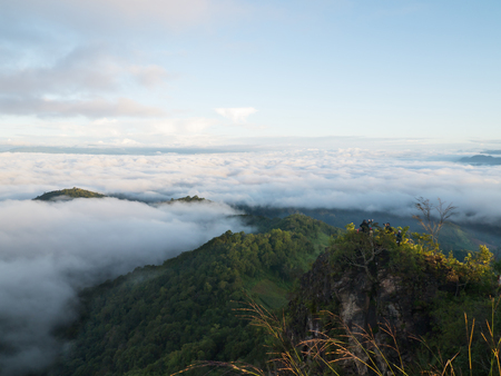 Landscape of moving mist in the mountain and hill . View point of mountain at Doi-Montngo, Chiang Mai �Thailand Фото со стока