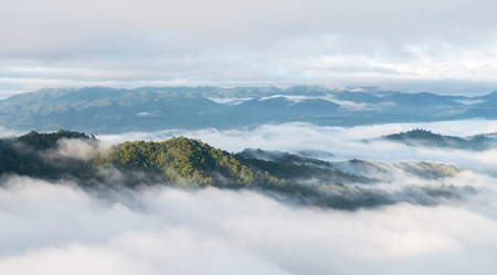 Landscape of moving mist in the mountain and hill . View point of mountain at Doi-Montngo, Chiang Mai –Thailand