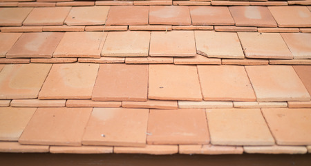 Close up of orange roof tiles