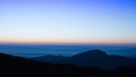 Landscape of sunrise and mountain at  Doi Inthanon national park ,Chiangmai -Thailand Фото со стока