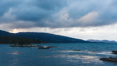 a fishing boat at sundown in the fjord surounded by birds