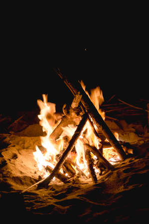 Inviting campfire on the beach in the summer