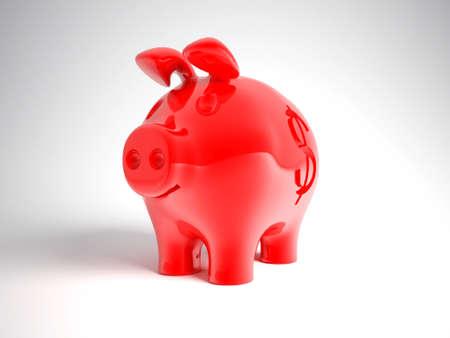 piggybanks: red pig bank Stock Photo