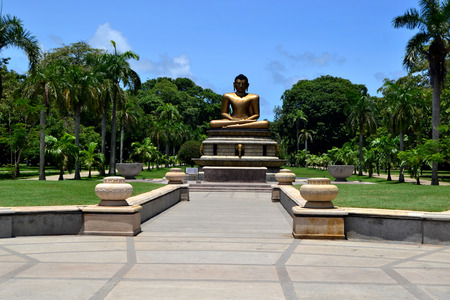 buddha sri lanka: A beautiful day of blue sky in Viharamahadevi Park in Colombo, Sri Lanka. Buddha statue.