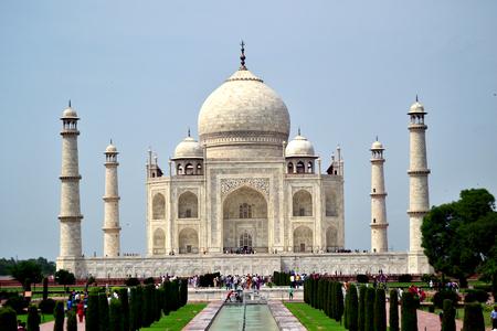 visitation: A beautiful day with blue sky at the Taj Mahal in Angra, India, day of visitation.
