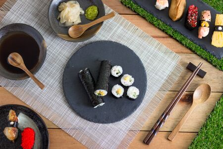 Sushi Variety on Wooden Table
