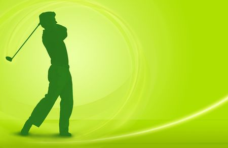tee off: Golf design; golfer driving a ball off the tee  Stock Photo