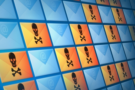 Continuous wall of iconic email, spam and virus electronic mail envelopes  Stock Photo