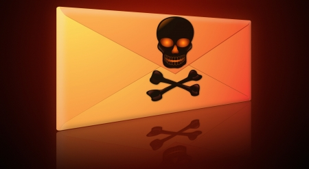 Electronic mail, email envelope containing spam, virus or phishing message  photo