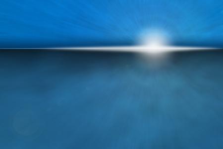 Atmospheric Ocean Sunrise - bright sun rise over dark blue horizon