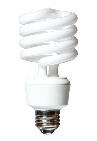 Isolated CF  compact fluorescent  light bulb on white background Stock Photo