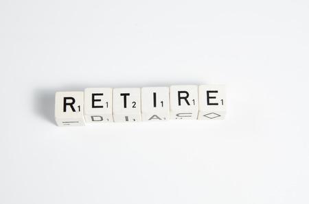 retire: retire written in letters