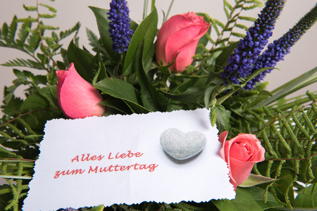 Bouquet of Flowers with card all the best in German