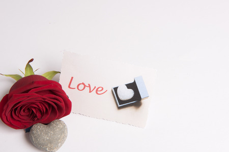 Rose and heart and Love Card