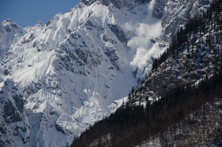avalanche: avalanche at Koenigsee in Bavaria in Winter
